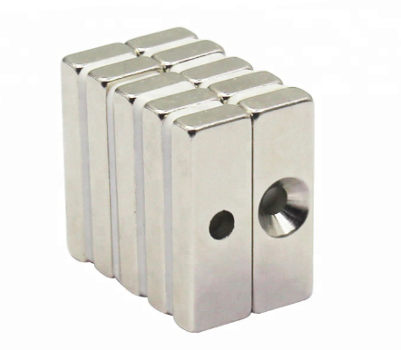 Rare earth Block with 4mm Countersunk hole
