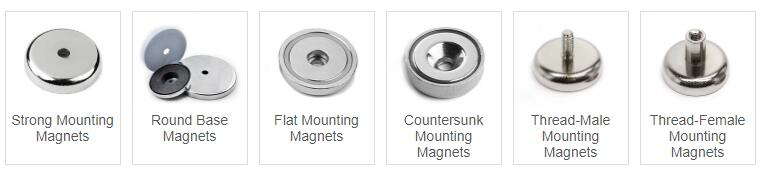 Flat Pot Magnets with Countersunk Hole