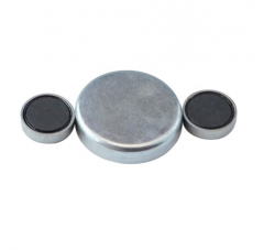 Ferrite flat pot magnets with zinc coating